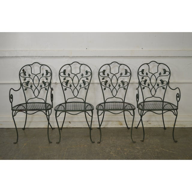 Salterini Wrought Iron Ivy Pattern Patio Dining Chairs Set Of 4