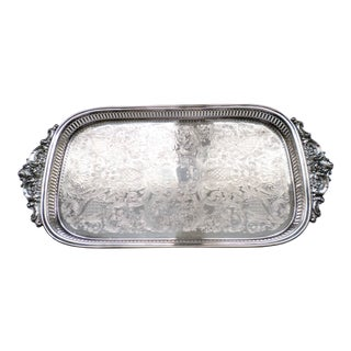 """Vintage 1970s Wallace Silverplate """"Baroque"""" Rectangle Footed Tray For Sale"""