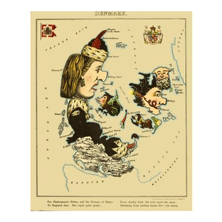 1869 Geographic Fun: Denmark as a Female Figure With Skates For Sale
