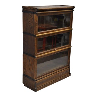 20th Century Arts and Crafts Macey Oak 3 Section Stacking Lawyers Barrister Stack Bookcase For Sale