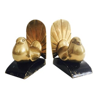 Vintage Brass Peacock Bookends - A Pair
