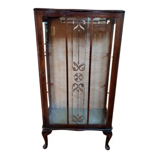 1930s Traditional Wooden Curio Cabinet For Sale