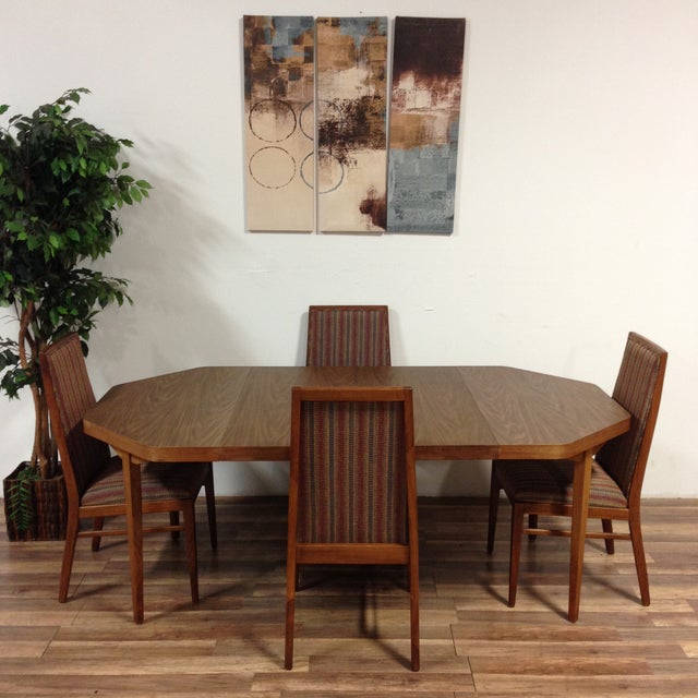 Vintage Dual Leaf Teak Dining Set - Image 2 of 11