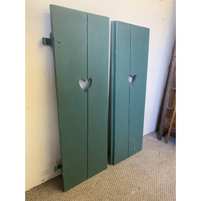 Large Antique Green Painted Window Shutters With Heart Cutouts - a Pair For Sale - Image 4 of 13