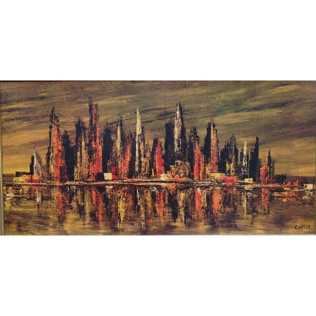 Mid-Century Carter Abstract Cityscape Print For Sale - Image 4 of 4