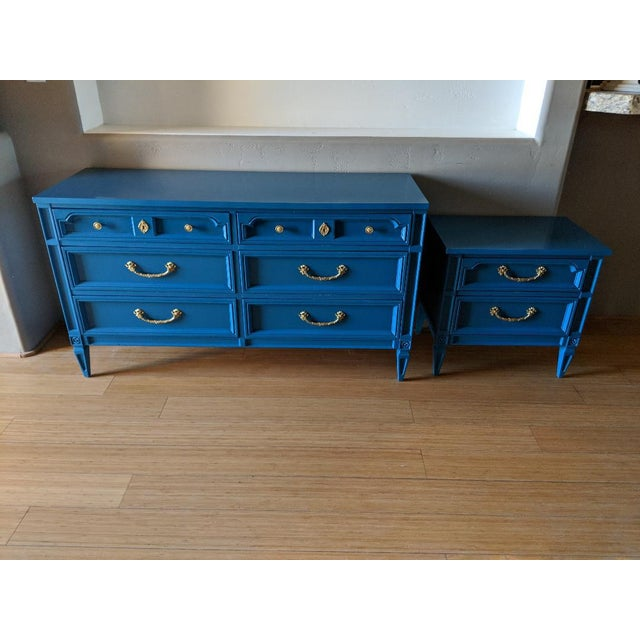 1960s Italian Basic Witz Blue High Gloss Six-Drawer Dresser and Nightstand Set - 2 Pieces For Sale - Image 12 of 12