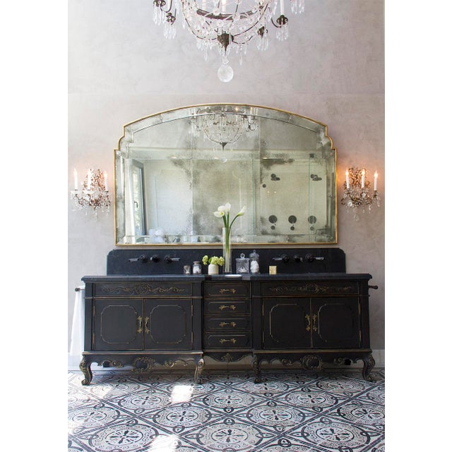 Ebony hand-carved double vanity by Platner & Co.. Hand-crafted in Los Angeles. Vanity only. Vanity top and hardware not...