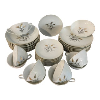 Yamaka Fine China Golden Grain Wheat Motif Dessert and Coffee and Tea Service Set - 37 Pieces For Sale