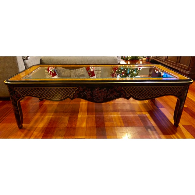 This vintage beauty has had one owner and impeccably maintained. The frame features black lacquer finish and chinoiserie...