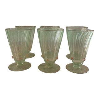 1940s Green With Gold Flecks Murano Glass Goblets Attributes Time Salviati- Set of 6 For Sale
