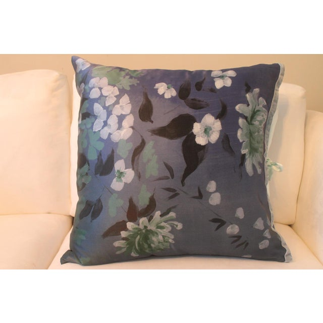 Traditional Michele Varian Blue Silk Pillows - A Pair For Sale - Image 3 of 6