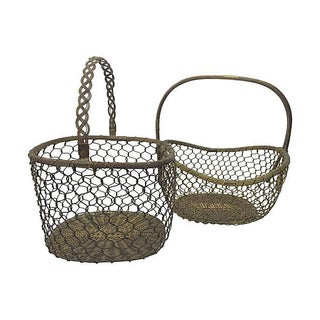 Vintage Woven Brass Baskets - A Pair For Sale