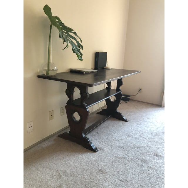 1900s American Classic Solid Oak Library Table For Sale - Image 4 of 9