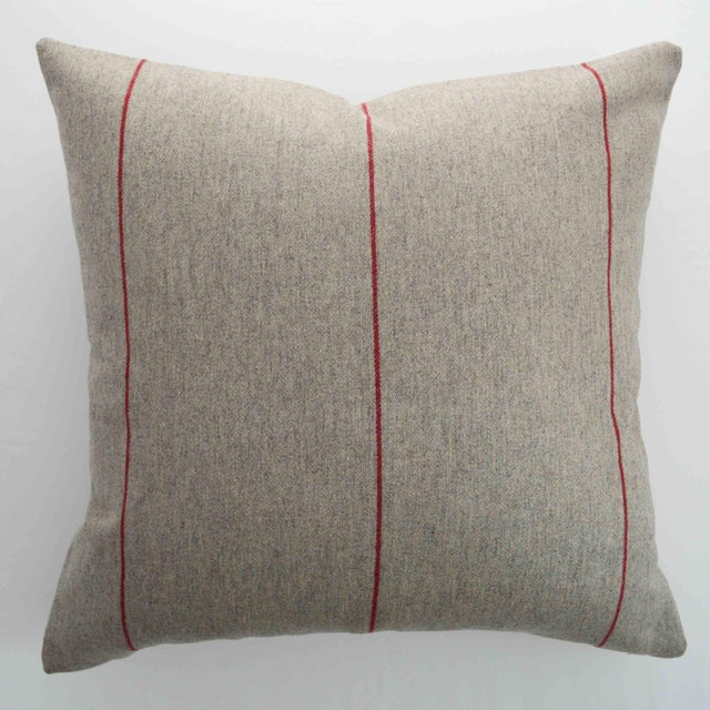 FirmaMenta Italian Red Striped Sustainable Wool Pillow For Sale In San Francisco - Image 6 of 6