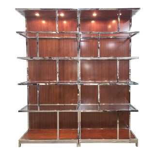 Lexington Mirage Walnut & Stainless Steel Kelly Etagere/Bookcase For Sale