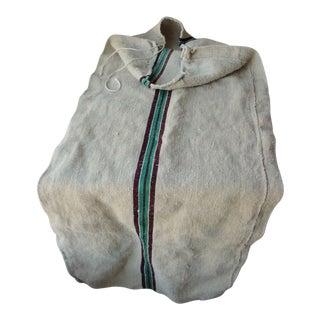 Linen Burgundy + Green Rare Unused Hemp Hand Woven Grain Sack For Sale