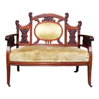Antique Carved Walnut Victorian Settee Loveseat Entry Bench For Sale