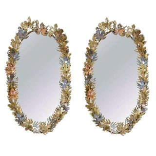 Amazing Pair of Brutalist Signed Curtis Jere Oval Leaf Wall Mirrors For Sale