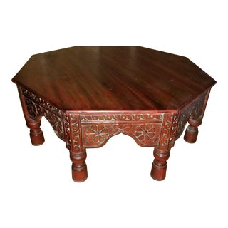 Antique Asian Style Solid Wood Carved Octagonal Low Coffee Table For Sale
