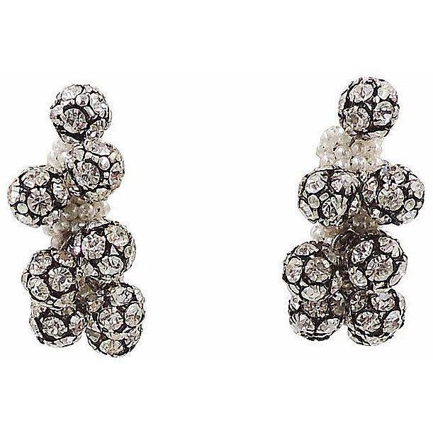 1960s Rhinestone & Faux-Pearl Earrings For Sale - Image 9 of 12