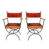 Image of Pair French Metal Arm Chairs For Sale