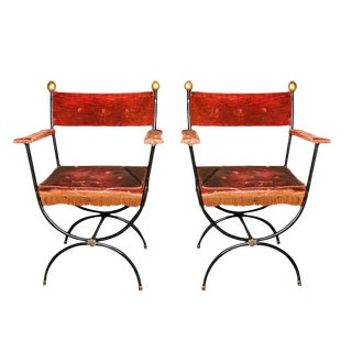 Pair French Metal Arm Chairs For Sale