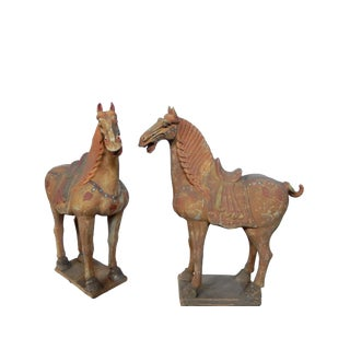 Lg Tang Dynasty-Style Standing Horses - a Pair For Sale