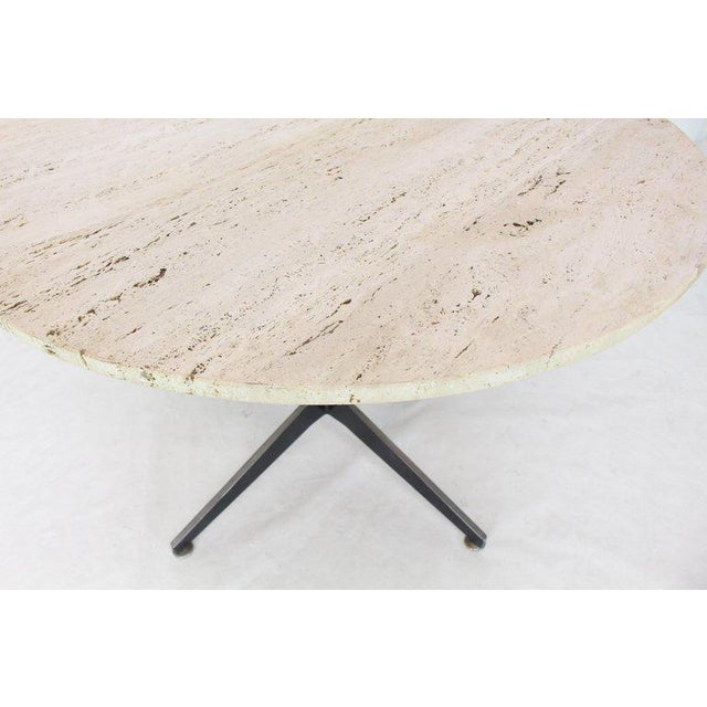Round Travertine Top Fabricated Aluminium X-Base Cafe Dining Table For Sale - Image 6 of 8
