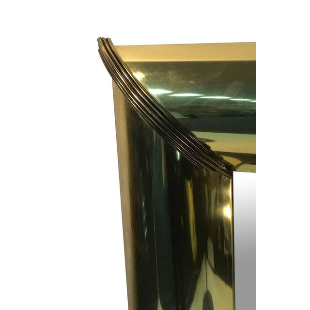 Modern Mirror With Brass Trim and Bold Moldings in the Style of Mastercraft For Sale - Image 3 of 5