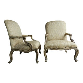 1980s French Style Open Arm Chairs - a Pair