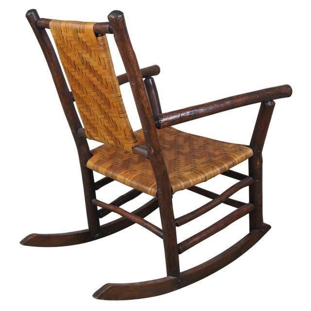 Rustic Rustic Hickory Furniture Company No. 21 Rocker Adirondak Lodge Rocking Chair For Sale - Image 3 of 12