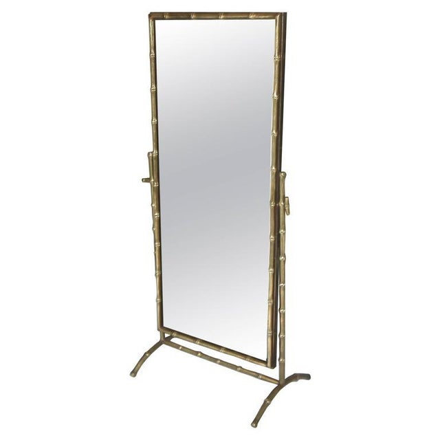 1950s French Bagues Bronze Bamboo Cheval Floor Mirror For Sale - Image 11 of 11