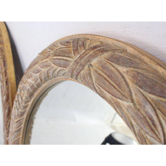 Mid 20th Century Pair of Medium Large Oval Gold Gild Leaf Pattern Frame Mirrors For Sale - Image 5 of 6
