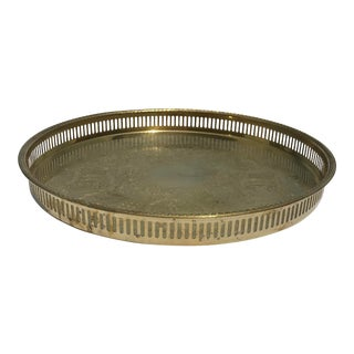 1960s Hollywood Regency Stamped Pierced Brass Tray For Sale