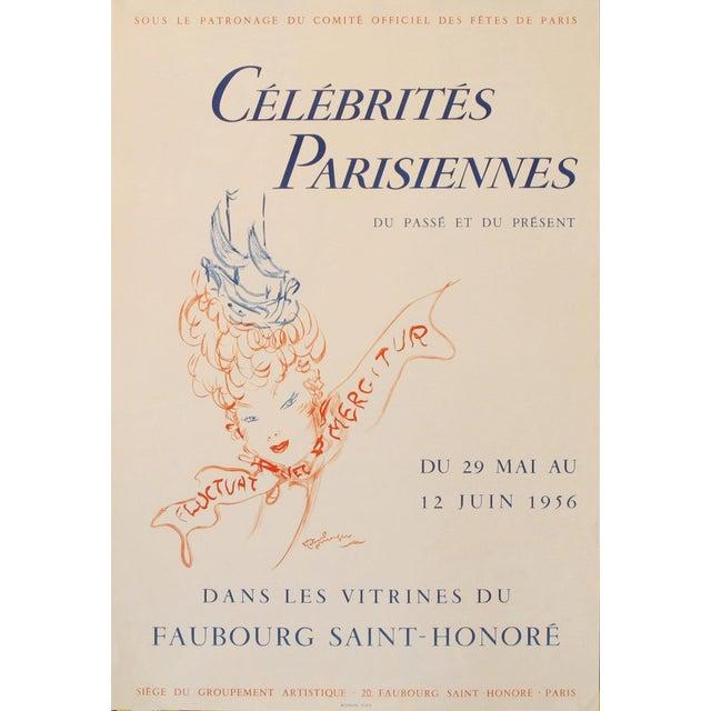 Parisian Celebrities, 1956 Original Vintage Poster, Cheret Style For Sale