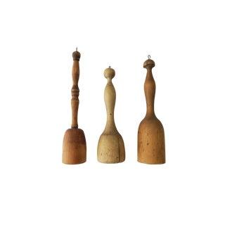 Antique Wooden Primitive Kitchen Large Muddler Potato Masher Pestle Set of 3