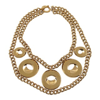 Julie Borgeaud for Imai Large Gilt Metal Geometric Choker Necklace For Sale