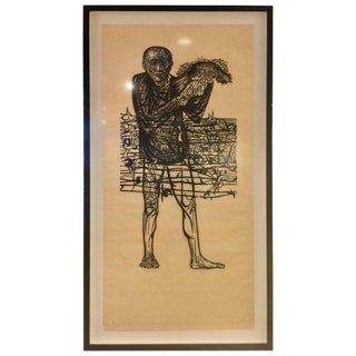 "Large Leonard Baskin Woodcut ""Man of Peace"" For Sale"