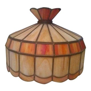 20th Century Art Deco Stained Glass Light Fixture For Sale