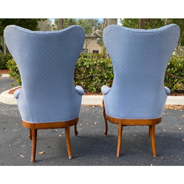 Vintage Wingback Bergere 1950s - exposed wood frame..