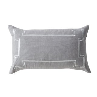 Aria Grey Linen Lumbar Pillow With Metallic Embroidery For Sale