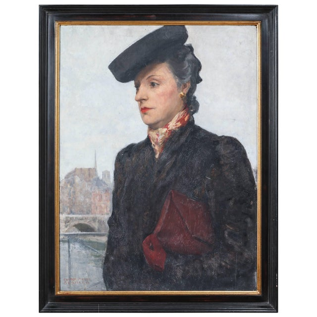 Paint Portrait of Parisian Woman in Black Hat Painting by C.P. Bernardo For Sale - Image 7 of 7