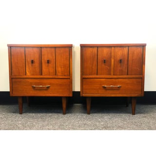 Mid-Century Modern Walnut Nightstands-a Pair Preview