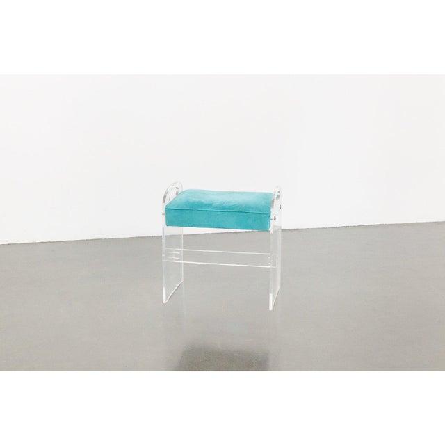 style: modern, ottoman, handles, stool, vanity bench material: lucite, blue velvet upholstery