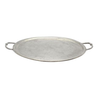 Match Pewter Round Tray With Handles For Sale