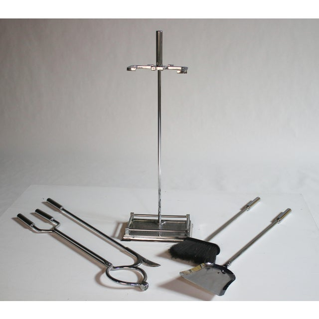 Modernist Chrome Fireplace Tool Set - Image 3 of 4