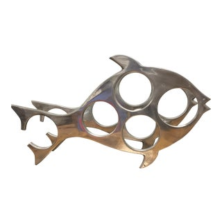 Vintage Aluminum Fish Wine Rack