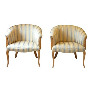 Vintage Mid Century French Club Chairs- A Pair For Sale