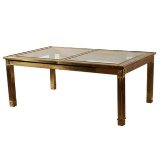 Mastercraft Brass & Glass Extension Table