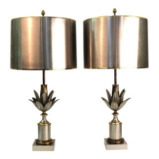 Maison Charles French Modern Artichaut Table Lamps in Bronze - a Pair For Sale
